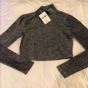 NWT Forever 21 Sparkle Mock Neck crop top - Size S